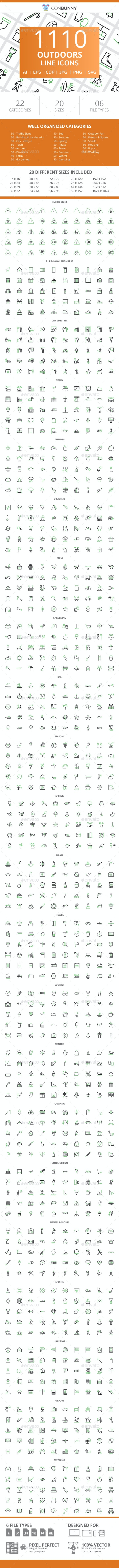 1110 Outdoors Line Green & Black Icons - Icons