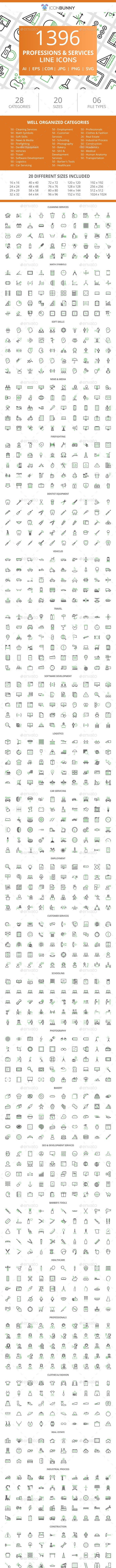 1396 Professions & Services Line Green & Black Icons - Icons