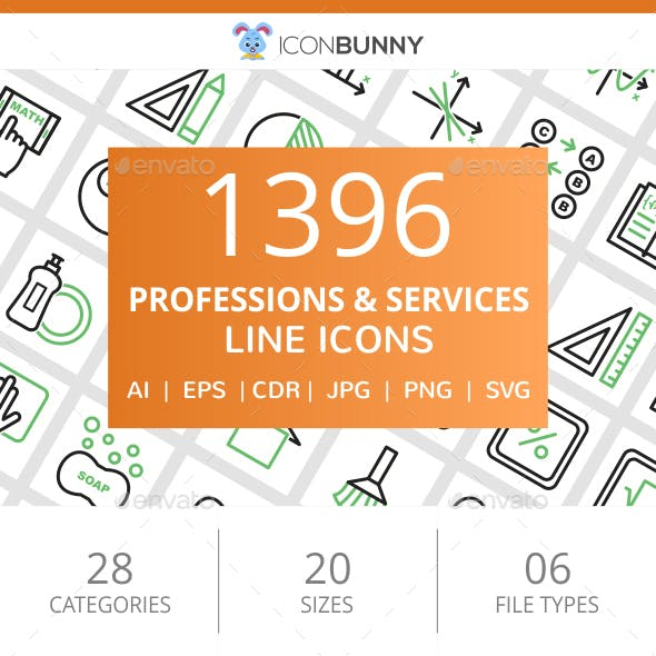 1396 Professions & Services Line Green & Black Icons