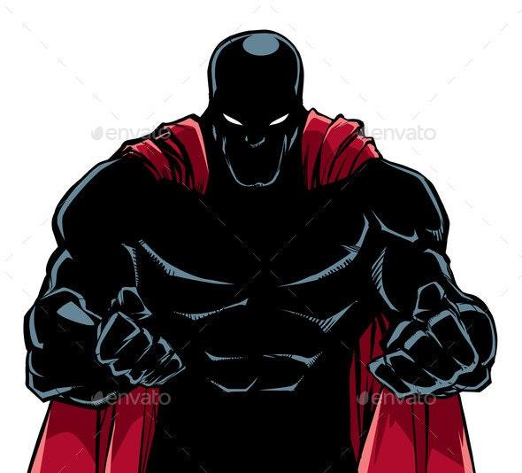 Raging Superhero Silhouette - People Characters