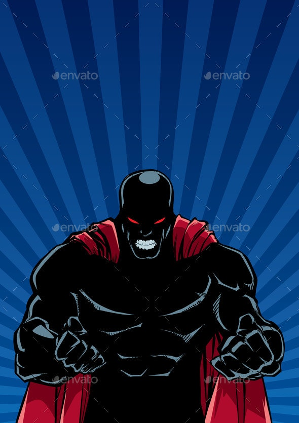 Raging Superhero Ray Light Background Silhouette - People Characters