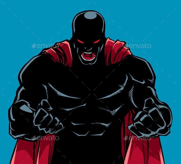 Raging Superhero Scream Silhouette - People Characters