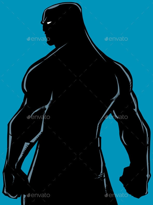 Superhero Back Battle Mode Silhouette - People Characters