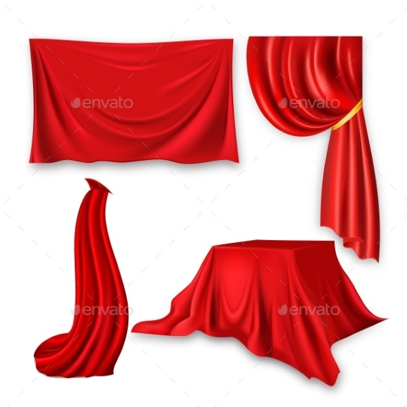 Red Silk Cloth Set Vector Fabric Cloth Waving - Man-made Objects Objects