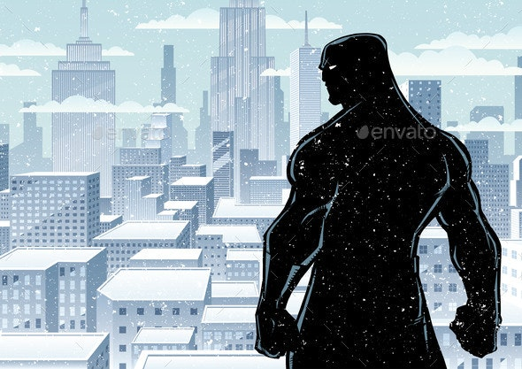 Superhero Back City Winter Silhouette - People Characters