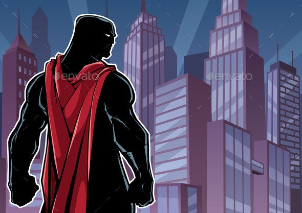 Superhero Back in City Silhouette - People Characters