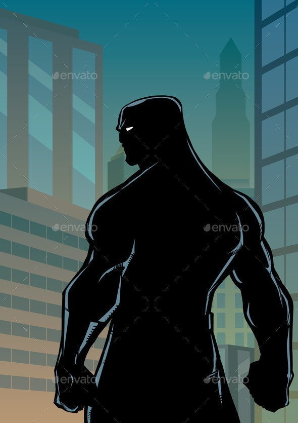 Superhero Back No Cape City Silhouette - People Characters