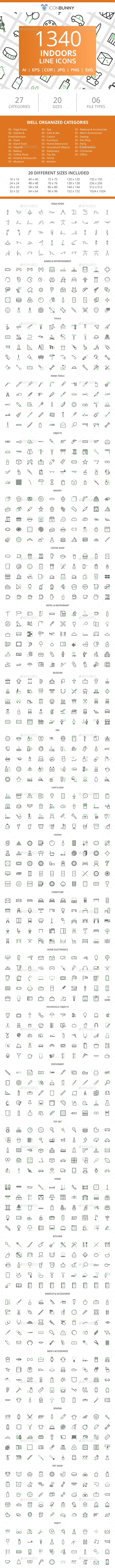1340 Indoors Line Green & Black Icons - Icons
