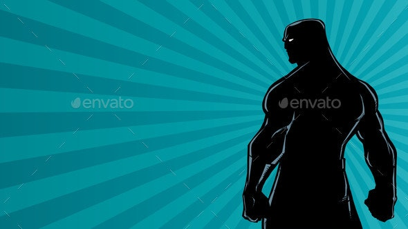 Superhero Back Ray Light Silhouette - People Characters