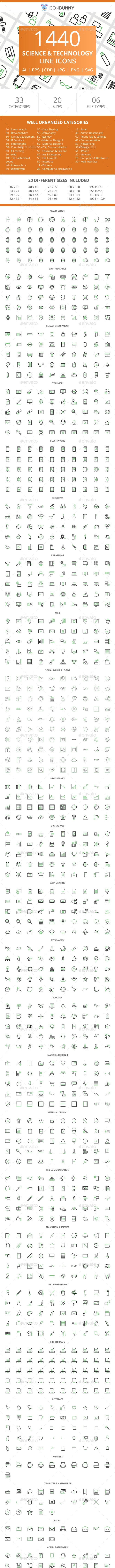 1440 Science & Technology Line Green & Black Icons - Icons