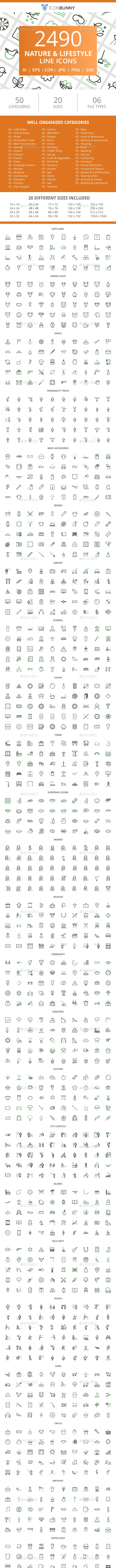 2490 Nature & Lifestyle Line Green & Black Icons - Icons