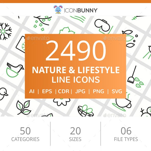 2490 Nature & Lifestyle Line Green & Black Icons