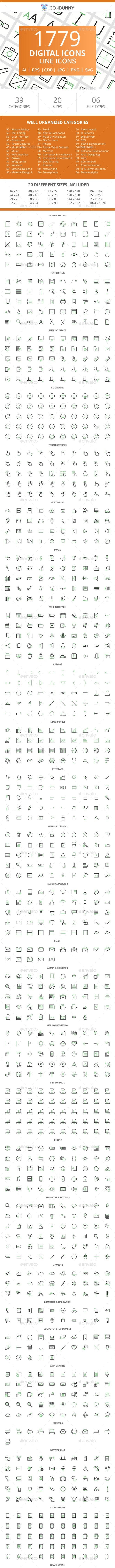 1779 Digital Line Green & Black Icons - Icons