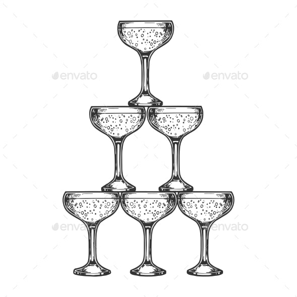 Champagne Glass Pyramid Tower Engraving Vector - Miscellaneous Vectors