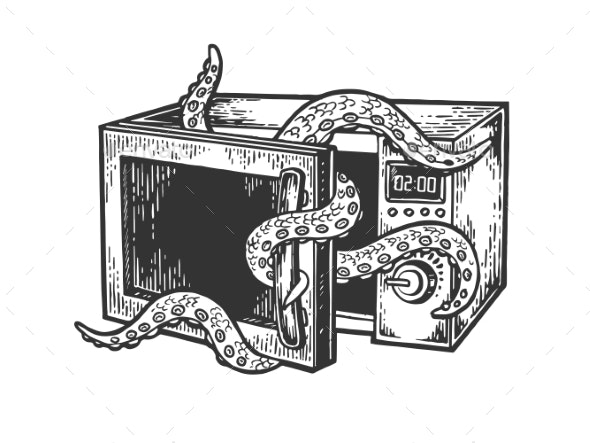 Octopus in Microwave Oven Engraving Vector - Miscellaneous Vectors