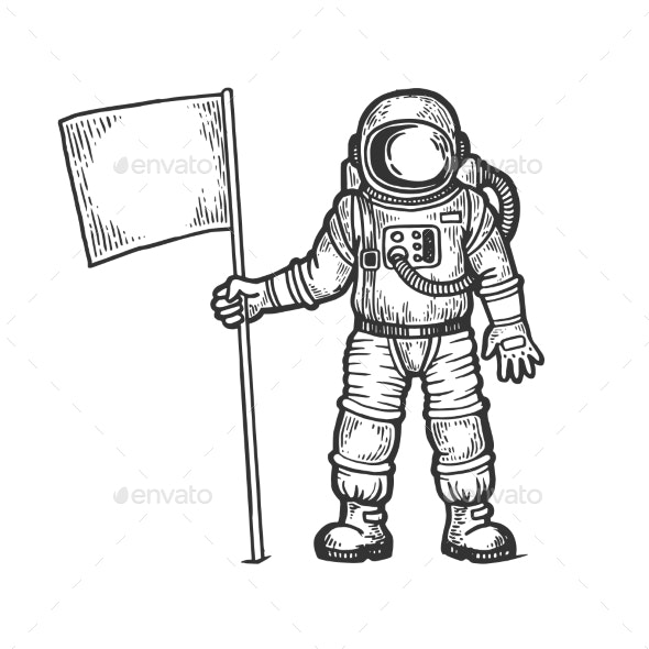 Spaceman with Flag Engraving Vector - Miscellaneous Vectors