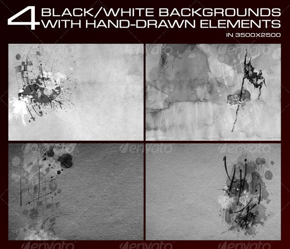 4 Black&White backgrounds with hand drawn elements - Backgrounds Graphics