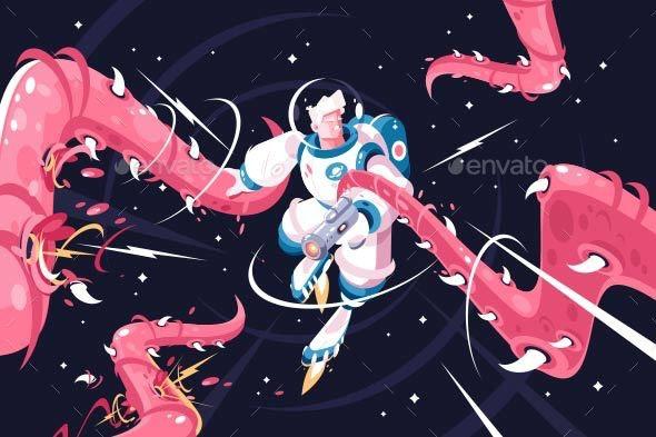 Young Astronaut Vs Dangerous Alien Tentacles - People Characters