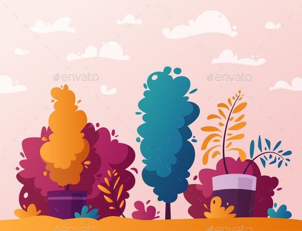 Plants Cartoon Vector Illustration - Flowers & Plants Nature