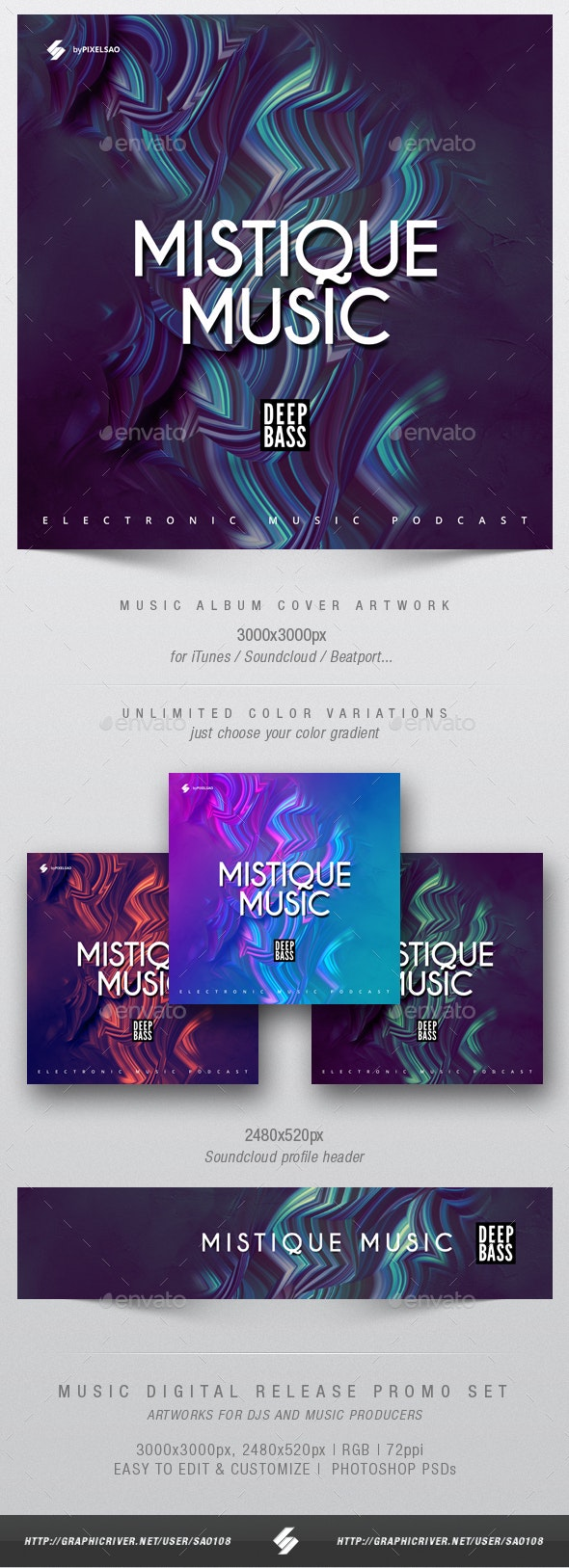 Mystique Music - Album Cover Artwork Template - Miscellaneous Social Media