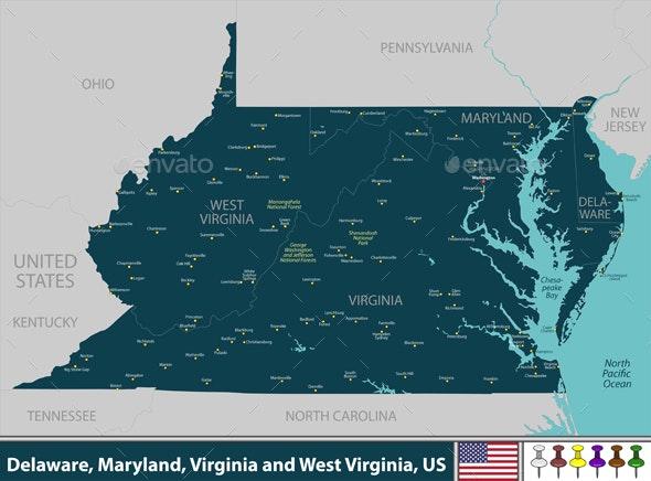 Delaware Maryland Virginia and West Virginia US - Travel Conceptual