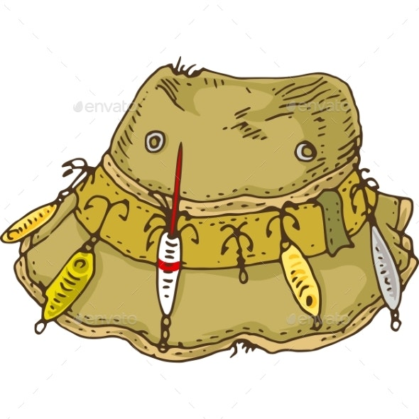 Khaki Hat with Fishing Lure and Hooks - Man-made Objects Objects