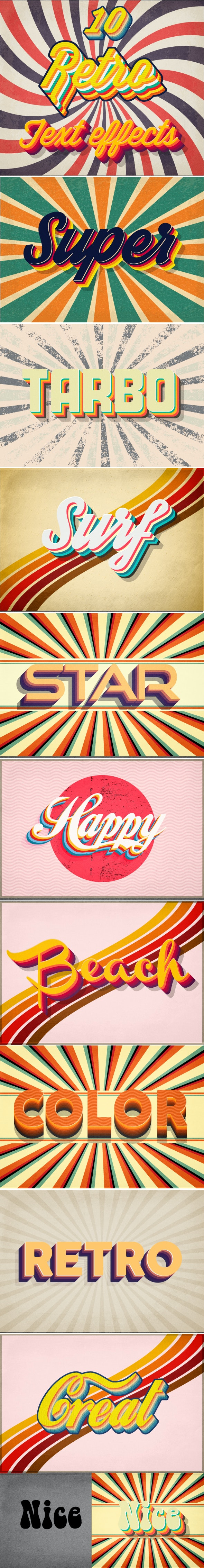 3D Retro Text Effects - Styles Illustrator