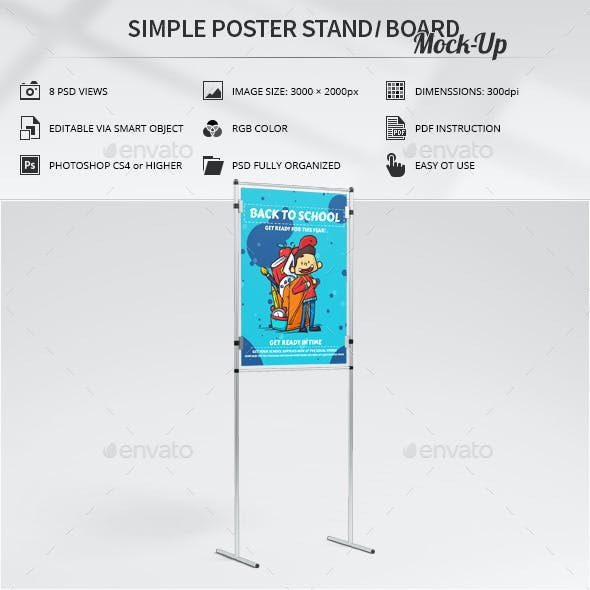 Simple Poster Stand / Board Mock-Up