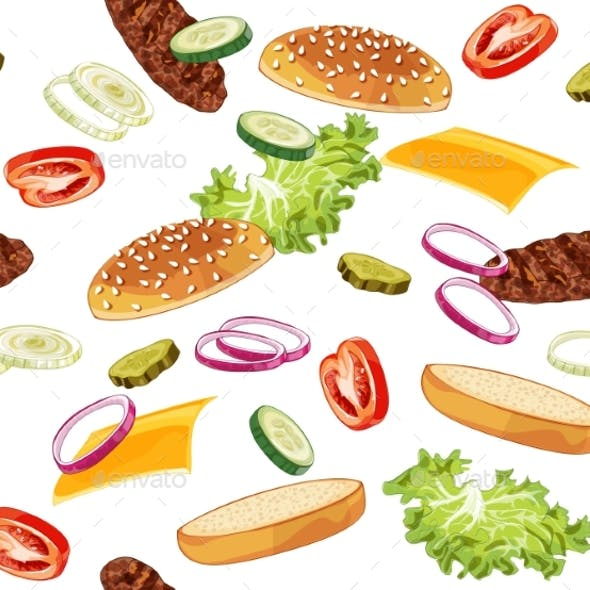 Pattern with Burger Ads Without Any Background