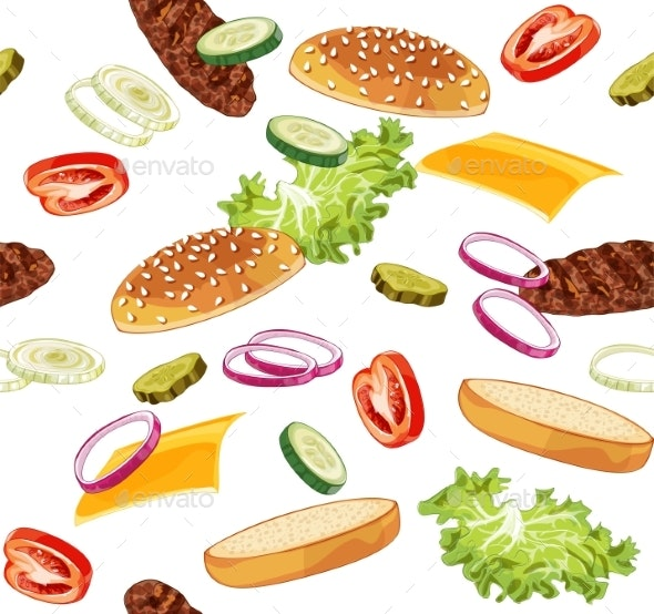 Pattern with Burger Ads Without Any Background - Food Objects