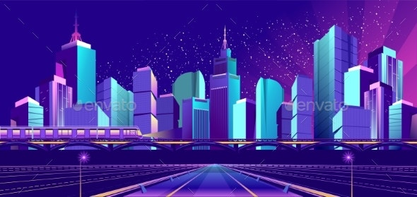Vector Banner Night City - Buildings Objects