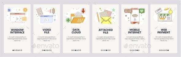 Web Site Onboarding Screens Data Cloud Sync - Web Elements Vectors