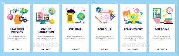 Web Site Onboarding Screens Online Education - Web Elements Vectors