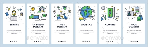 Web Site Onboarding Screens Fast Shipping - Web Elements Vectors