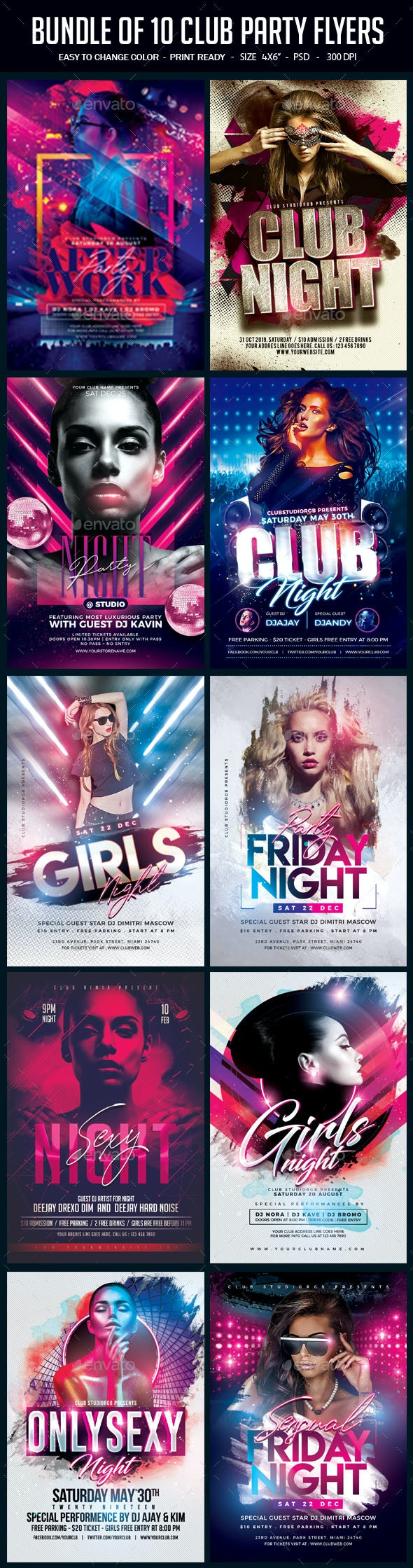 Bundle of 10 Club Party Flyers - Clubs & Parties Events