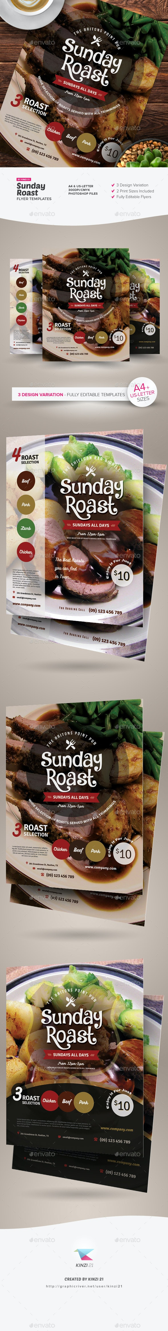 Sunday Roast Flyer Templates - Restaurant Flyers