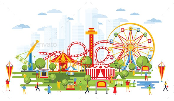 Amusement Park with Carousels in Cartoon Style - Miscellaneous Vectors