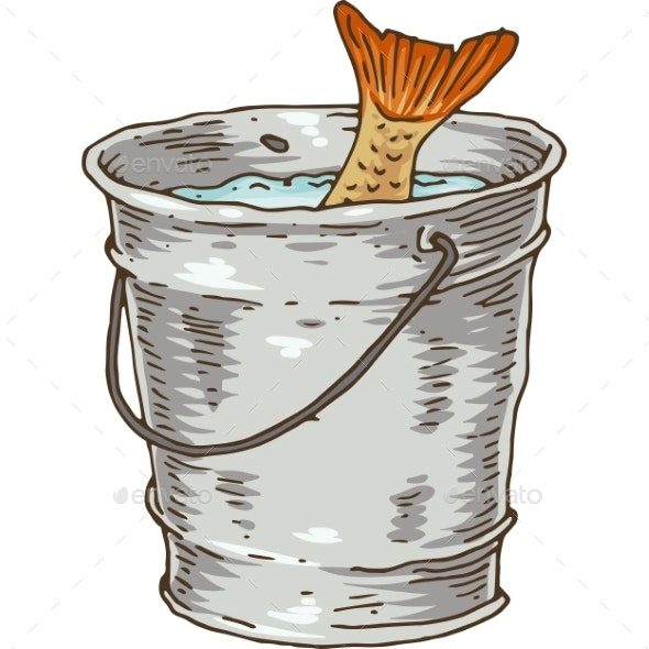 Fishing Bucket with Catch - Man-made Objects Objects