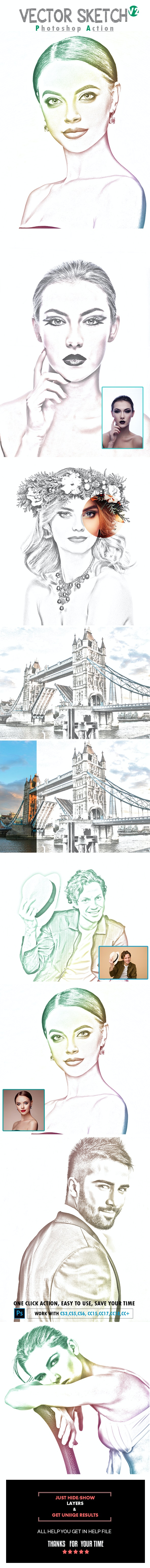 Vector Sketch V2 Photoshop Action - Photo Effects Actions