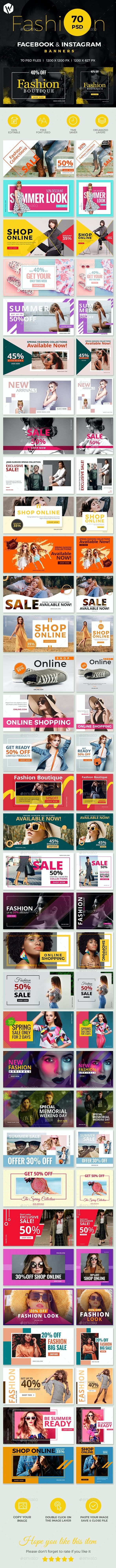 Facebook & Instagram Fashion Banners - Social Media Web Elements