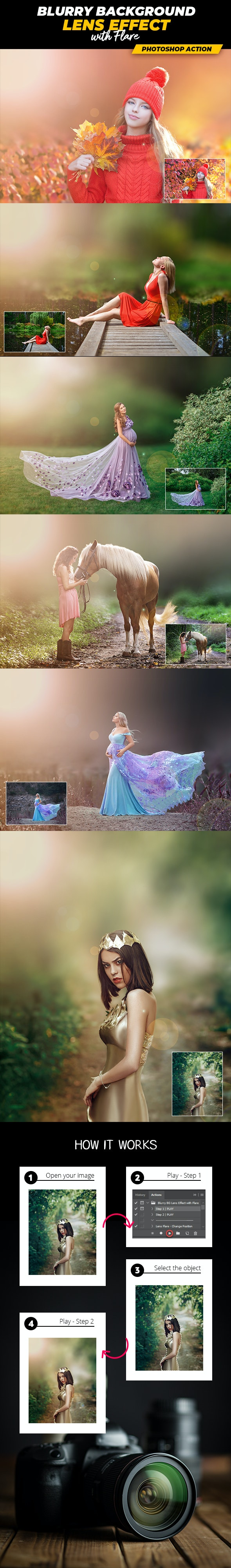 Blurry Background Lens Effect with Flare - Photoshop Action - Photo Effects Actions