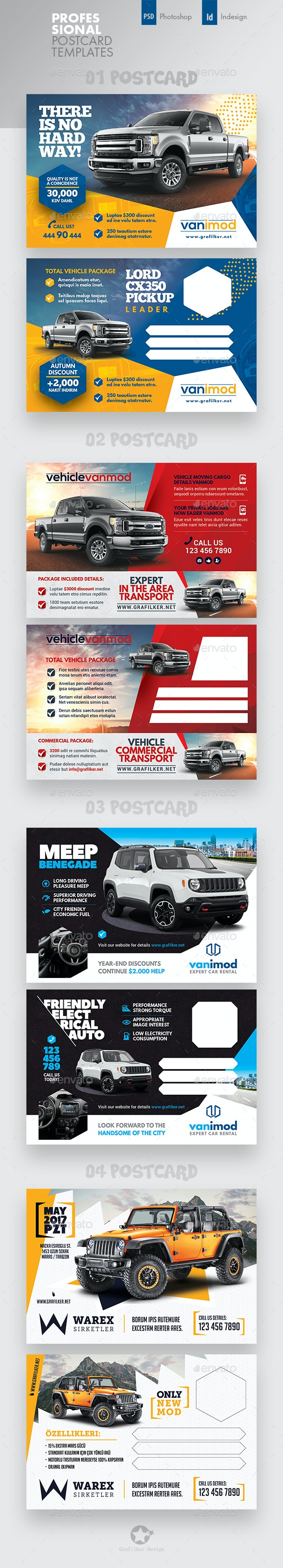 Car Sales Postcard Bundle Templates - Cards & Invites Print Templates