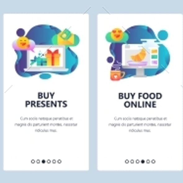 Web Site Onboarding Screens Online Shopping