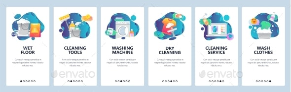 Web Site Onboarding Screens Cleaning - Web Elements Vectors