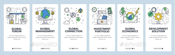 Web Site Onboarding Screens Global Connection - Web Elements Vectors
