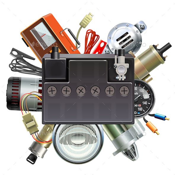 Vector Car Parts Concept with Car Battery