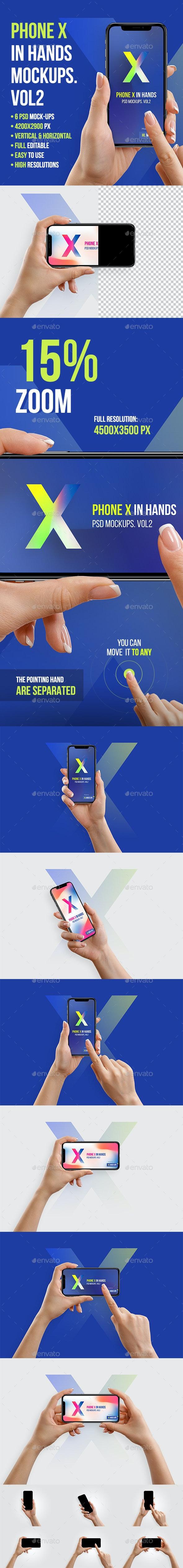 Phone X in Hands Mockups Vol2 - Mobile Displays