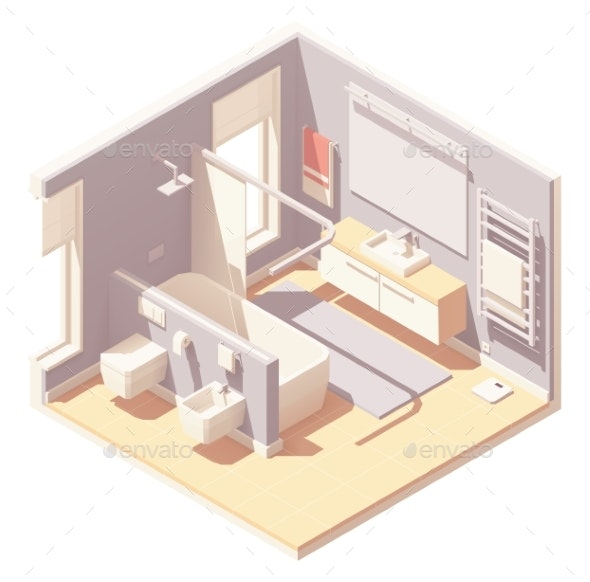 Vector Isometric Bathroom Interior - Buildings Objects