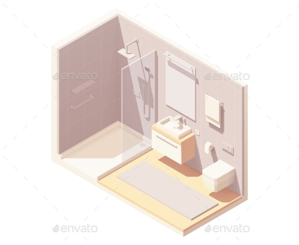 Vector Isometric Small Bathroom Interior - Buildings Objects
