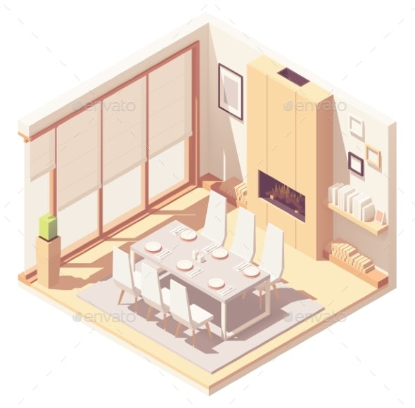 Vector Isometric Dining Room Interior - Buildings Objects